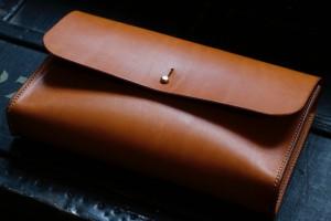 Leder clutch cognac hellbraun