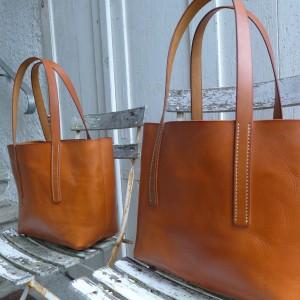 Tote Bag Shopper Leder cognac handgenäht  1218