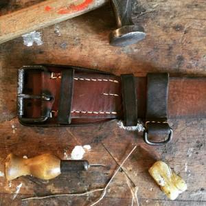 Jugoslavian vintage leather army belt military