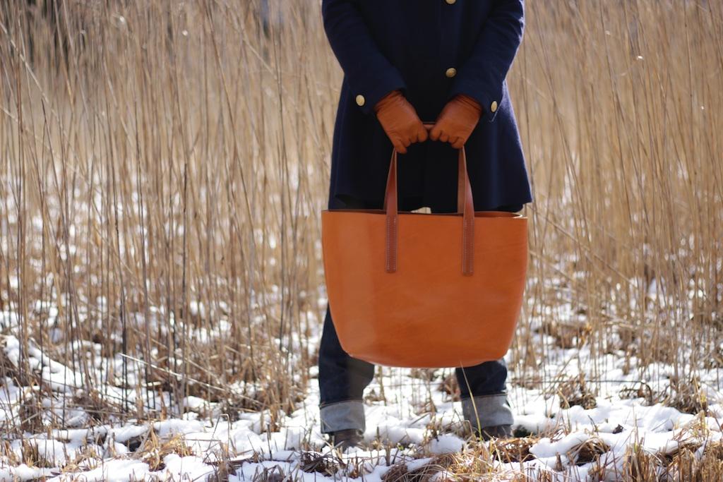 Tote Bag Greta Cognac handgenäht Shipper Leder